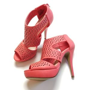 Apt 9 Coral Heels with Cutouts (EUC)